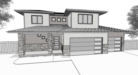 Camden 4 Bedroom Front Perspective Line Drawing 8-17-18